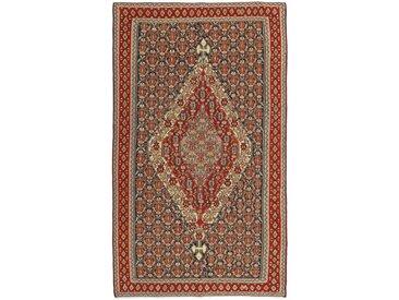 Tapis Persan Kilim Senneh 251x140 Kilim Senneh Marron/Rouille (Noué à la main, Perse/Iran, Laine)