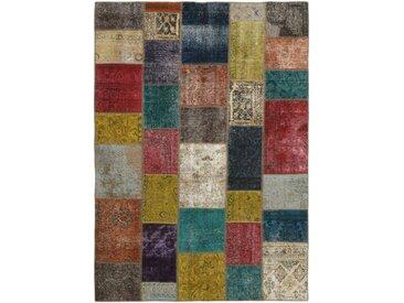 Tapis Patchwork 241x170 Gris Foncé/Marron (Laine, Perse/Iran, Noué à la main)