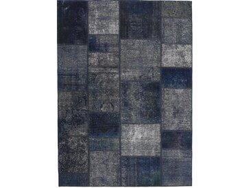 Tapis Patchwork 199x141 Gris Foncé/Bleu Foncé (Laine, Perse/Iran, Noué à la main)