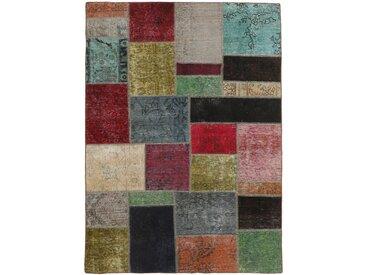 Tapis Patchwork 200x147 Gris Foncé/Marron (Laine, Perse/Iran, Noué à la main)