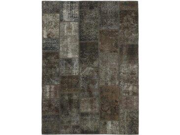 Tapis Patchwork 202x143 Moderne/Design Gris Foncé/Marron Foncé (Noué à la main, Laine, Perse/Iran)