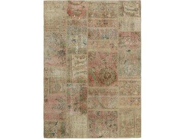 Tapis Fait Main Patchwork 201x141 Beige/Marron Foncé (Laine, Perse/Iran)