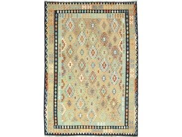 Tapis Kilim Afghan Heritage 296x209 Moderne/Design Gris Foncé/Beige (Tissé à la main, Laine, Afghanistan)