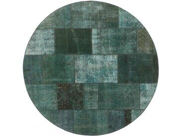 Tapis Persan Patchwork 199x201 Patchwork Gris Foncé/Vert Foncé (Noué à la main, Perse/Iran, Laine)