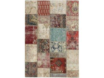 Tapis Patchwork 199x141 Gris Foncé/Beige (Laine, Perse/Iran, Noué à la main)