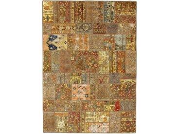 Tapis Fait Main Patchwork 241x173 Beige/Marron (Laine, Perse/Iran)