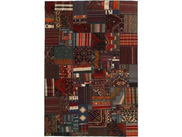 Tapis Kilim Patchwork 299x199 Gris Foncé/Marron Foncé (Laine, Perse/Iran, Noué à la main)