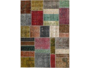Tapis Patchwork 198x142 Moderne/Design Gris Foncé/Marron (Noué à la main, Laine, Perse/Iran)