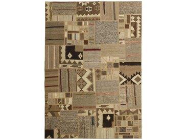 Tapis Kilim Patchwork 230x162 Gris Foncé/Marron Foncé (Laine, Perse/Iran, Noué à la main)