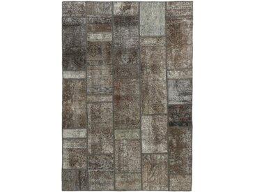 Tapis Patchwork 206x139 Moderne/Design Beige/Marron Foncé (Noué à la main, Laine, Perse/Iran)