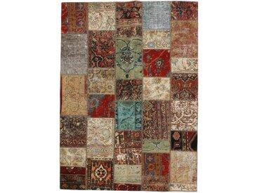 Tapis D'orient Patchwork 235x165 Beige/Marron Foncé (Perse/Iran, Laine, Noué à la main)