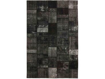 Tapis Patchwork 298x201 Gris Foncé/Marron Foncé (Laine, Perse/Iran, Noué à la main)