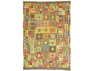 Tapis Kilim Afghan Heritage 293x203 Moderne/Design Orange/Olive Verte (Tissé à la main, Laine, Afghanistan)