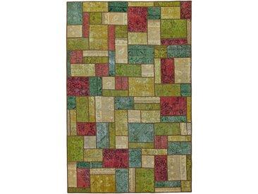 Tapis Persan Patchwork 303x196 Patchwork Gris Foncé/Rouille (Noué à la main, Perse/Iran, Laine)