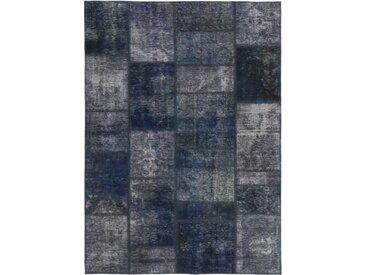 Tapis Fait Main Patchwork 198x140 Gris Foncé/Bleu Foncé (Laine, Perse/Iran)