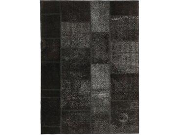 Tapis Patchwork 194x143 Gris Foncé/Marron Foncé (Laine, Perse/Iran, Noué à la main)