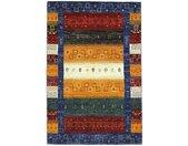Tapis Fait Main Persan Gabbeh Loribaft 124x81 Gris Foncé/Orange (Laine, Perse/Iran)