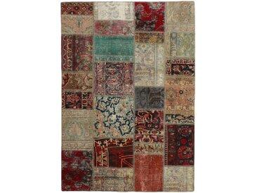 Tapis Patchwork 201x141 Gris Foncé/Beige (Laine, Perse/Iran, Noué à la main)