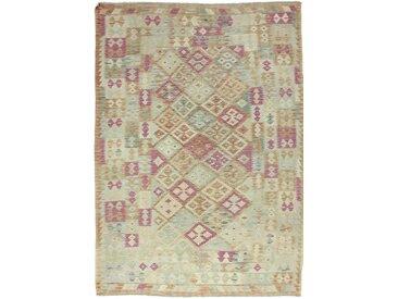 Tapis Kilim Afghan Heritage 244x175 Moderne/Design Beige/Olive Verte (Tissé à la main, Laine, Afghanistan)
