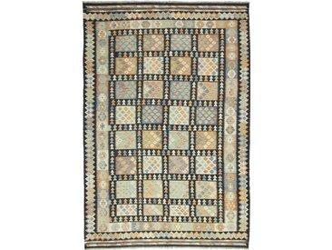 Tapis D'orient Kilim Afghan Heritage 297x206 Gris Foncé/Beige (Tissé à la main, Afghanistan, Laine)