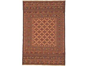 Tapis Kilim Nimbaft 193x125 Marron/Rouille (Laine, Afghanistan, Noué à la main)