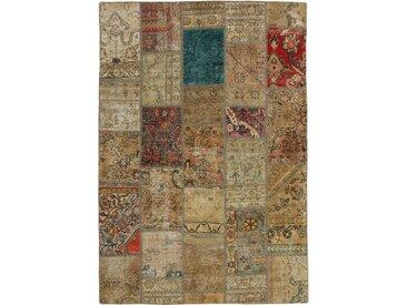 Tapis Patchwork 204x141 Beige/Bleu Foncé (Laine, Perse/Iran, Noué à la main)