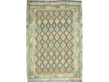 Tapis Kilim Afghan Heritage 295x210 Moderne/Design Gris Foncé/Olive Verte (Tissé à la main, Laine, Afghanistan)