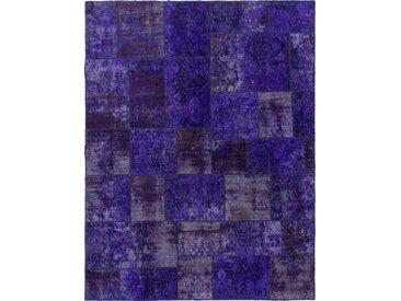 Tapis D'orient Patchwork 260x200 Bleu Foncé/Violet (Perse/Iran, Laine, Noué à la main)