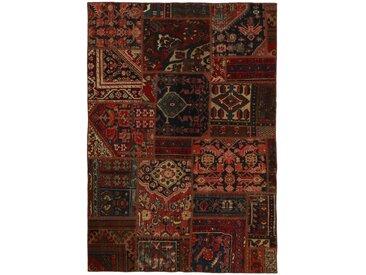 Tapis Persan Patchwork Malayer 197x139 Patchwork Malayer Gris Foncé/Marron Foncé (Noué à la main, Perse/Iran, Laine)