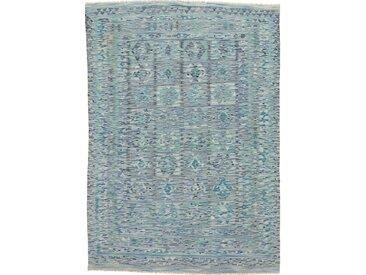 Tapis Kilim Afghan Heritage 246x174 Moderne/Design Gris/Bleu Clair (Tissé à la main, Laine, Afghanistan)