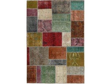 Tapis Patchwork 199x141 Gris Foncé/Marron (Laine, Perse/Iran, Noué à la main)