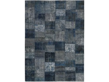 Tapis D'orient Patchwork 352x249 Gris Foncé/Bleu Foncé (Perse/Iran, Laine, Noué à la main)