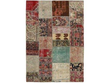 Tapis Patchwork 201x141 Moderne/Design Marron Foncé/Rouille (Noué à la main, Laine, Perse/Iran)