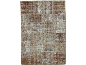 Tapis Fait Main Patchwork 242x172 Gris Foncé/Beige (Laine, Perse/Iran)