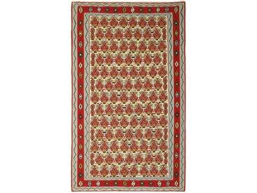 Tapis Kilim Senneh 247x147 Gris/Marron (Laine, Perse/Iran, Noué à la main)