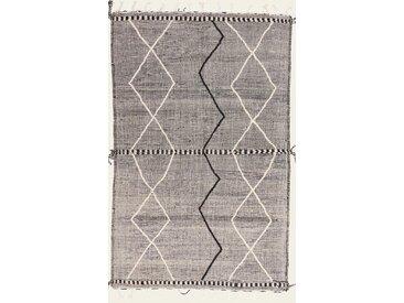 Tapis Kilim Berber Design 301x195 Gris Foncé/Beige (Laine, Maroc, Noué à la main)