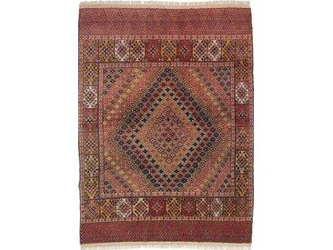 Tapis Kilim Senneh 274x195 Rouille/Violet (Laine/Soie, Perse/Iran, Noué à la main)