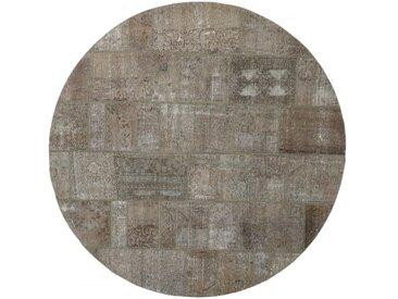 Tapis Patchwork 199x199 Moderne/Design Ronde Gris Foncé/Beige (Noué à la main, Laine, Perse/Iran)