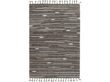 Tapis Kilim Design Tribal 238x161 Gris Foncé/Marron Foncé (Laine, Inde, Noué à la main)