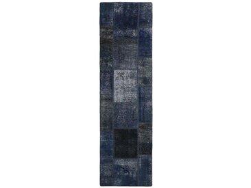 Tapis Patchwork 249x71 Moderne/Design Coureur Gris Foncé/Bleu Foncé (Noué à la main, Laine, Perse/Iran)