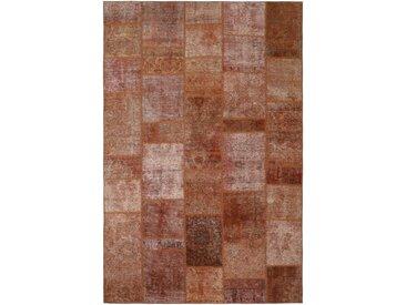 Tapis Patchwork 301x197 Moderne/Design Marron/Rose (Noué à la main, Laine, Perse/Iran)
