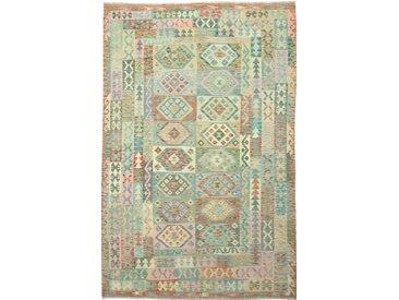Tapis Kilim Afghan Heritage 303x201 Moderne/Design Gris/Olive Verte (Tissé à la main, Laine, Afghanistan)