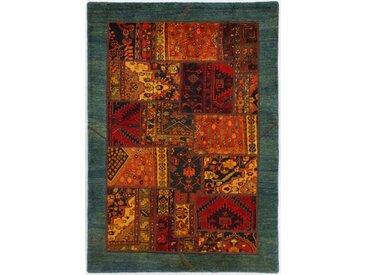 Tapis Patchwork 206x144 Gris Foncé/Vert Foncé (Laine, Perse/Iran, Noué à la main)