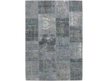 Tapis Patchwork 204x143 Gris Foncé/Bleu Clair (Laine, Perse/Iran, Noué à la main)