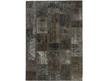 Tapis Patchwork 201x144 Gris Foncé/Marron Foncé (Laine, Perse/Iran, Noué à la main)
