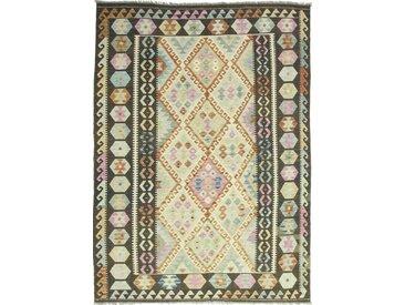 Tapis Kilim Afghan Heritage 246x183 Moderne/Design Gris Foncé/Beige (Tissé à la main, Laine, Afghanistan)