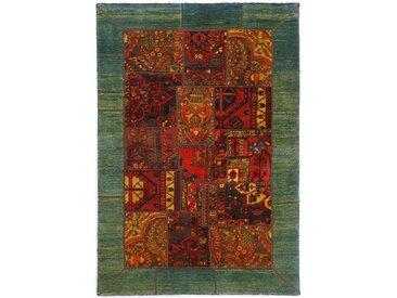 Tapis Patchwork 206x141 Moderne/Design Marron/Rouge Foncé (Noué à la main, Laine, Perse/Iran)