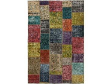 Tapis Patchwork 243x164 Moderne/Design Gris Foncé/Rouille (Noué à la main, Laine, Perse/Iran)