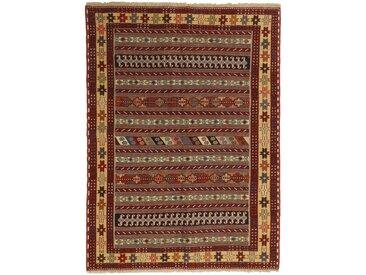 Tapis Kilim Soumak Shahsavan 150x109 Marron/Rouille (Laine, Perse/Iran, Noué à la main)