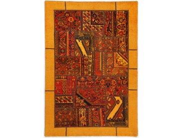 Tapis Persan Patchwork 206x142 Patchwork Marron/Orange (Noué à la main, Perse/Iran, Laine)